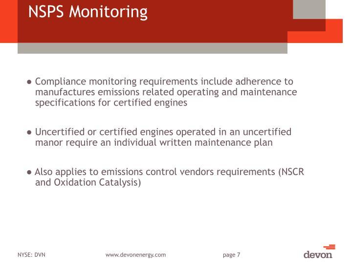 NSPS Monitoring