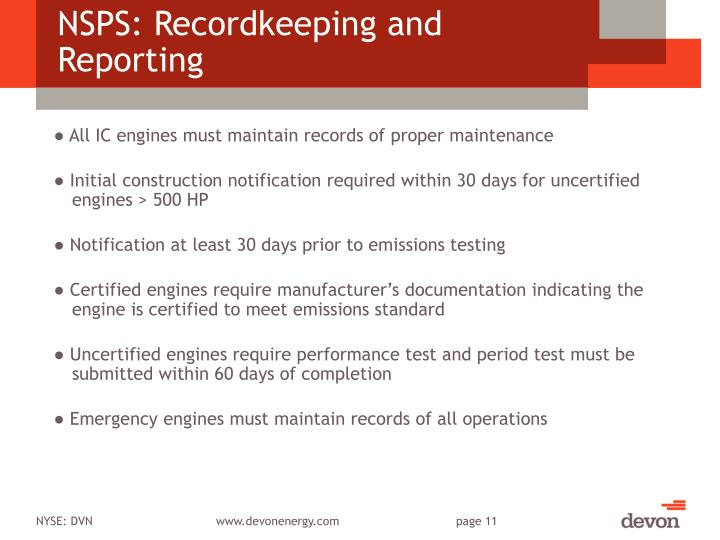 NSPS: Recordkeeping and Reporting