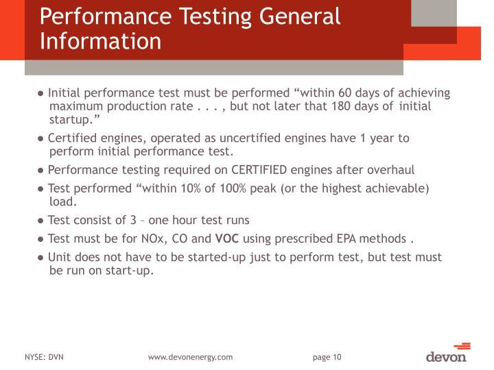 Performance Testing General Information