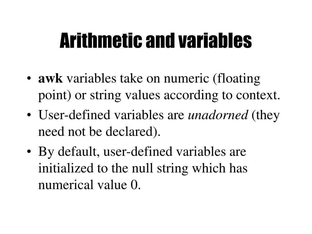 Arithmetic and variables