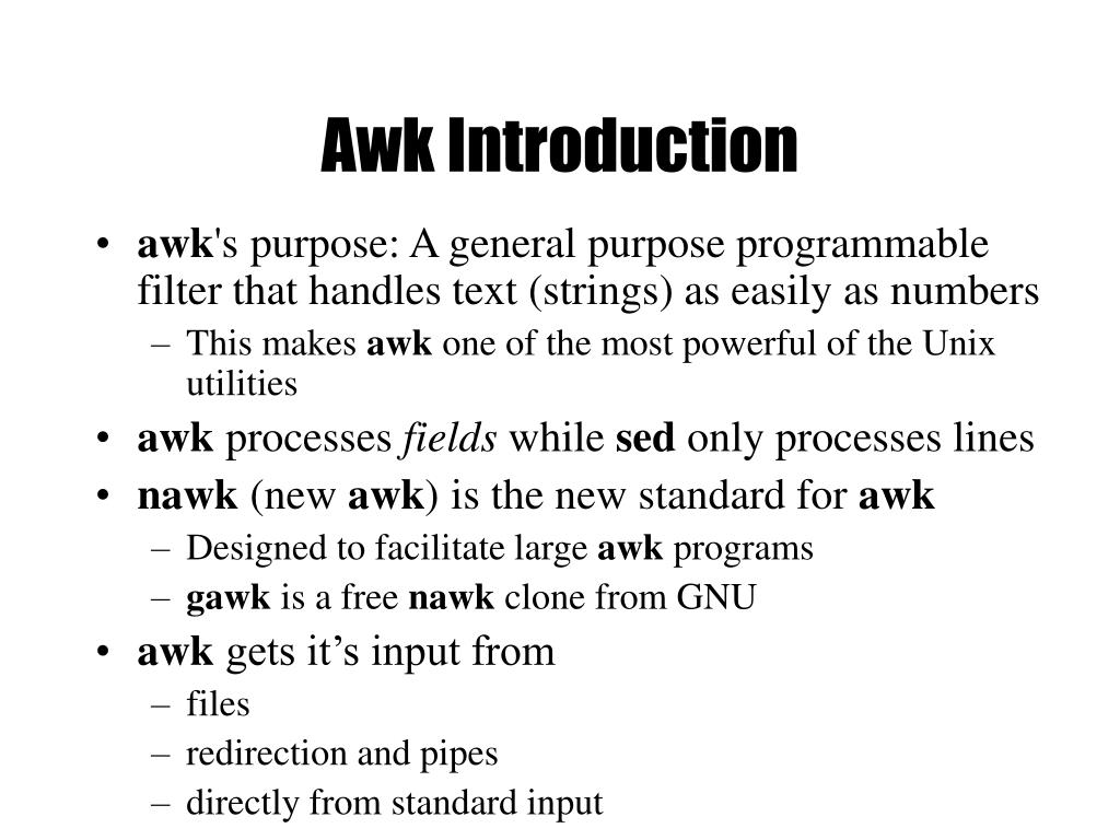 Awk Introduction