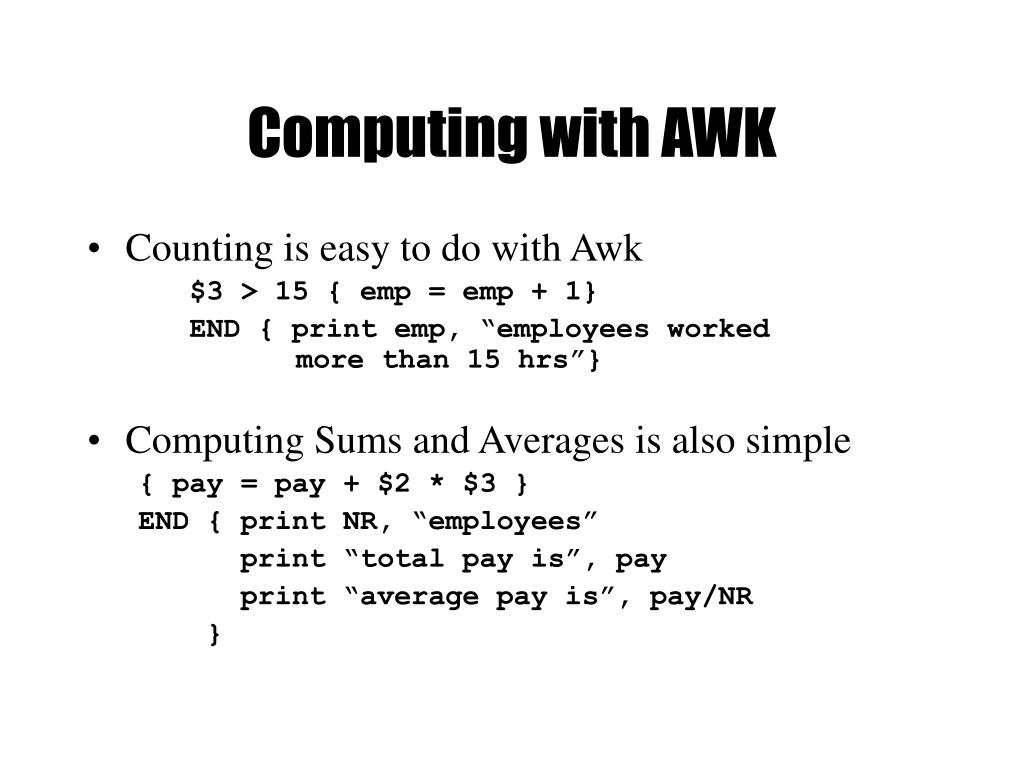 Computing with AWK