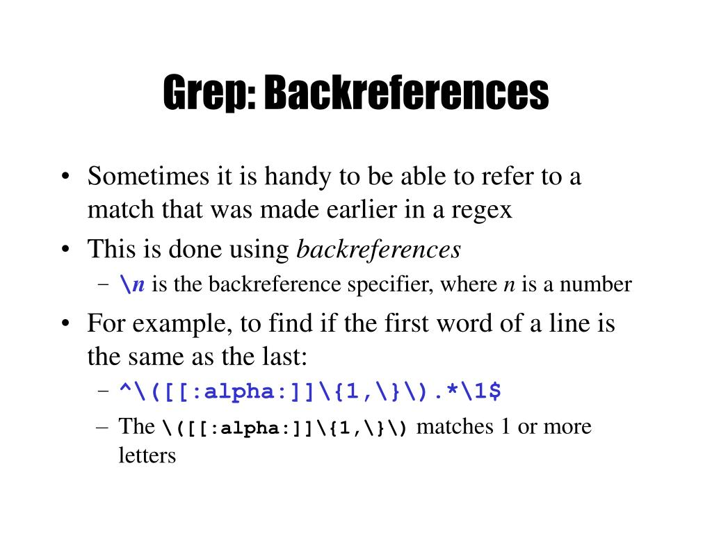 Grep: Backreferences