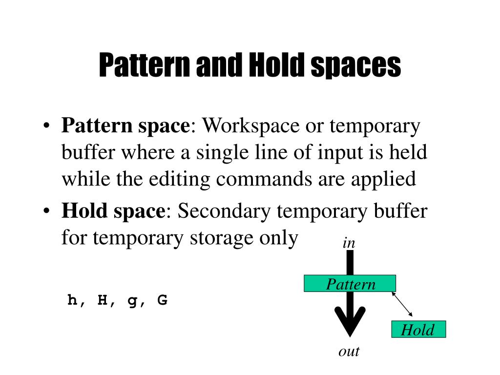Pattern and Hold spaces