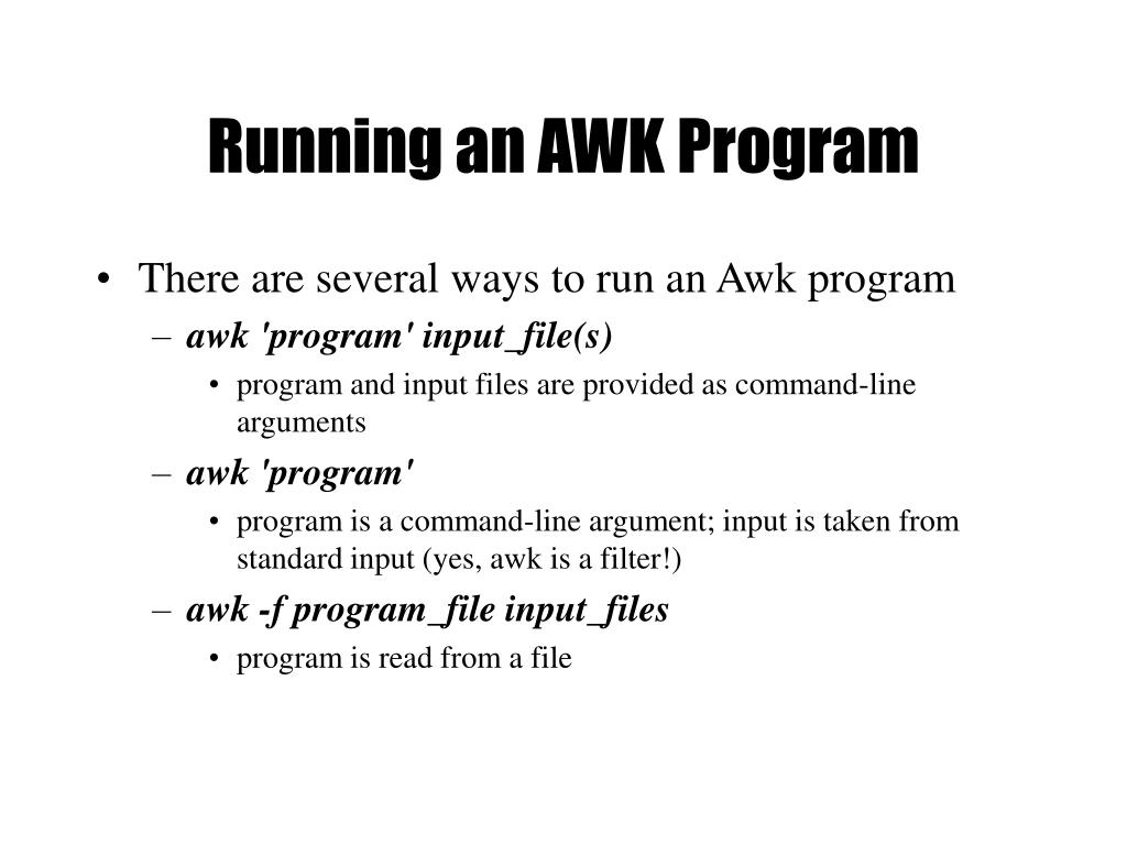 Running an AWK Program