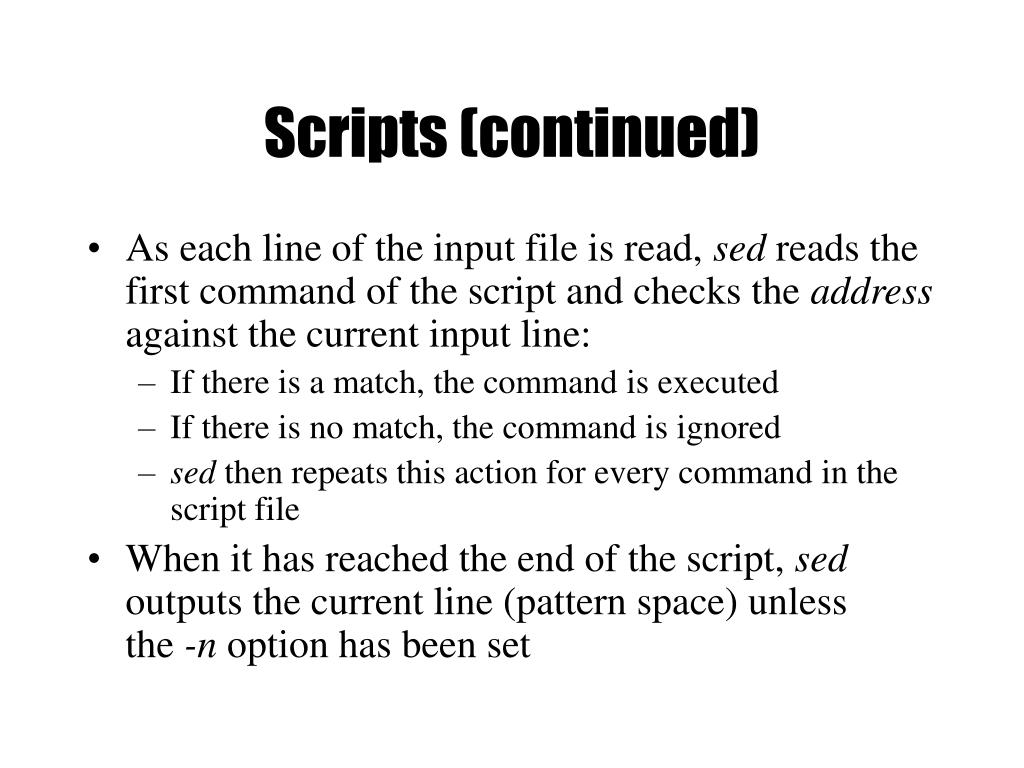 Scripts (continued)