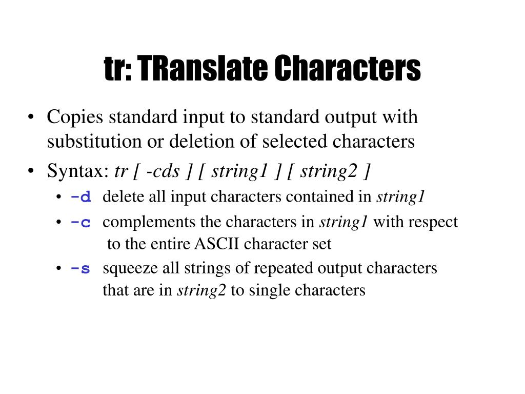 tr: TRanslate Characters
