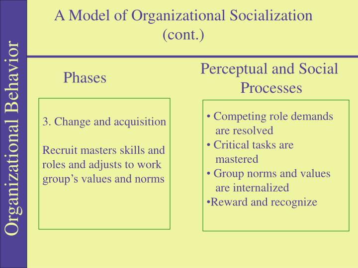 A Model of Organizational Socialization (cont.)