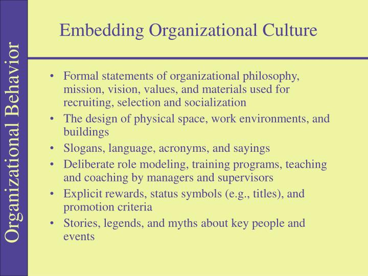 Embedding Organizational Culture