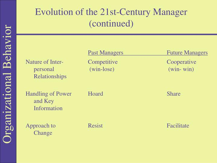 Evolution of the 21st-Century Manager (continued)
