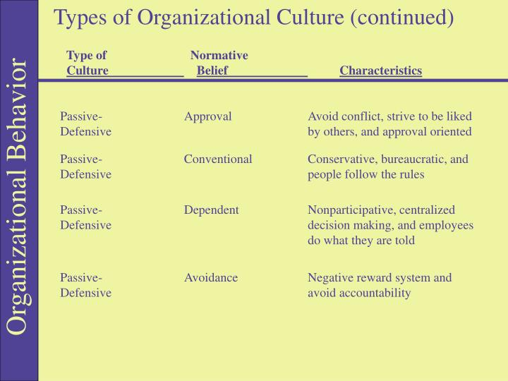 Types of Organizational Culture (continued)