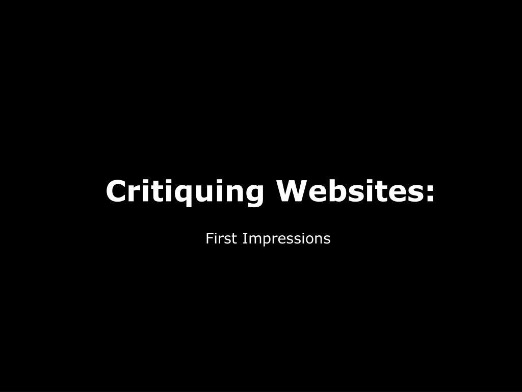 Critiquing Websites: