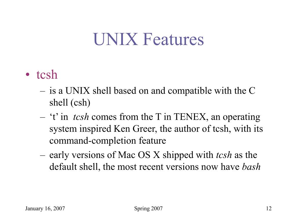 UNIX Features