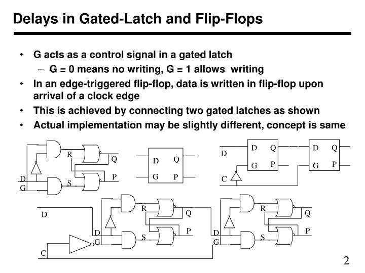 Delays in gated latch and flip flops