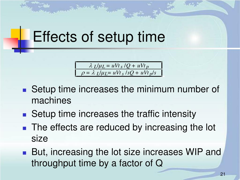 Effects of setup time
