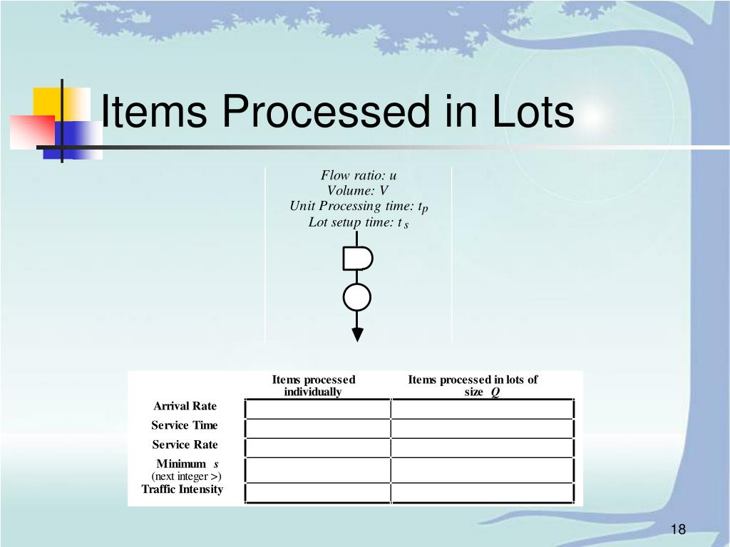 Items Processed in Lots