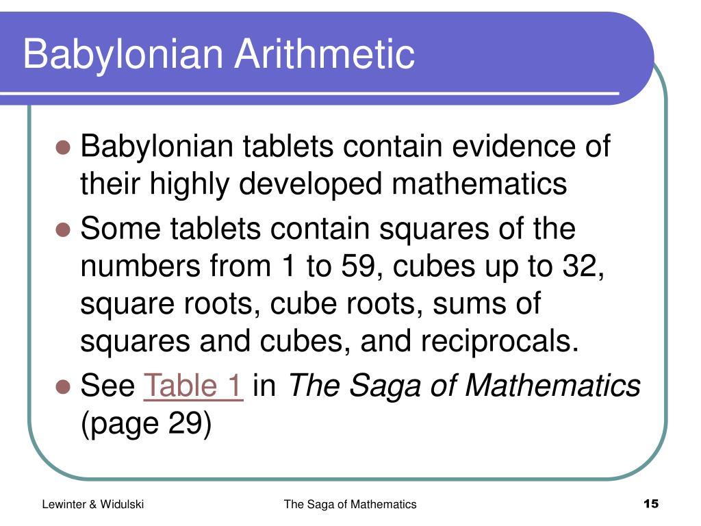 Babylonian Arithmetic
