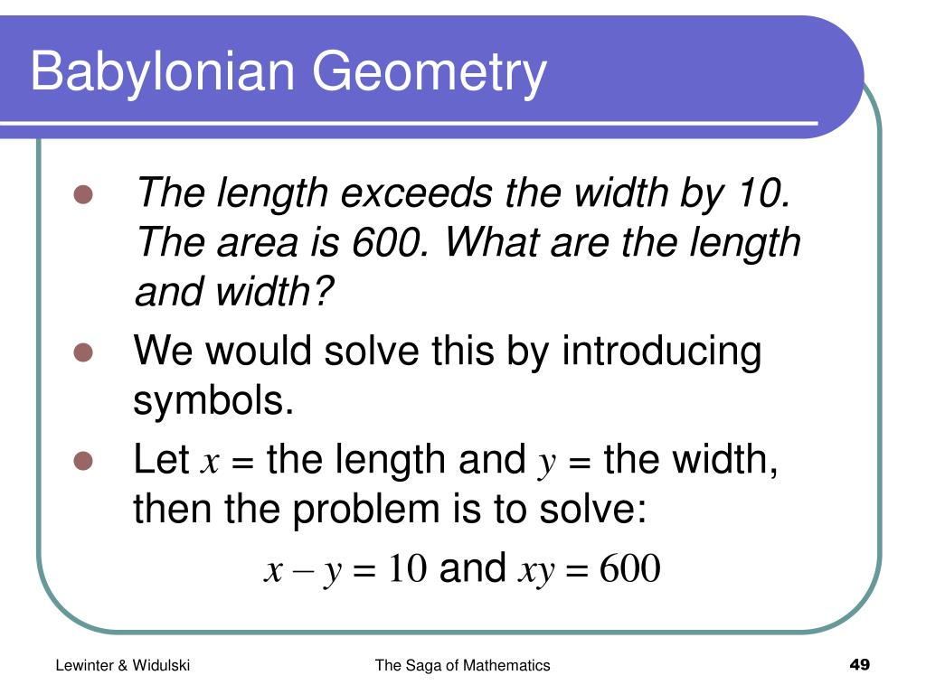 Babylonian Geometry