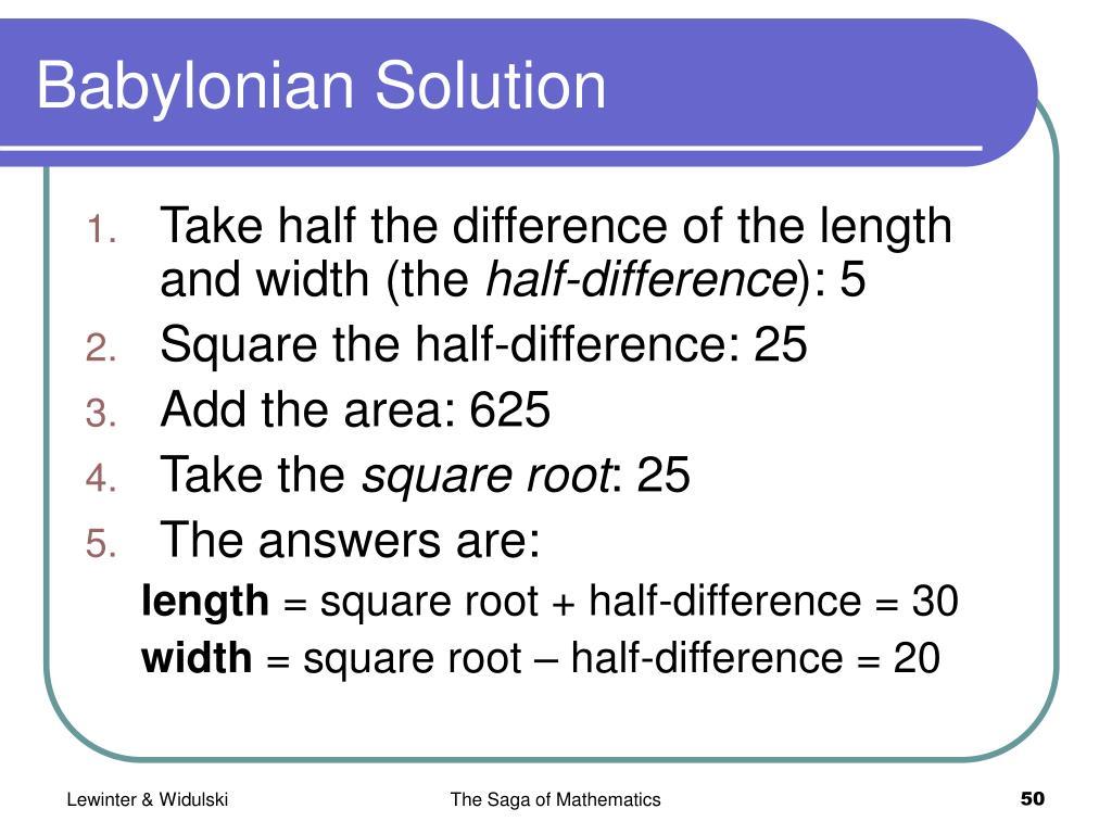 Babylonian Solution