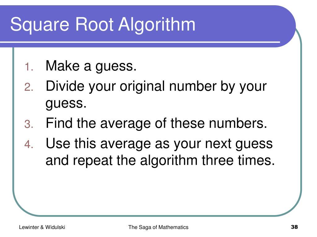 Square Root Algorithm