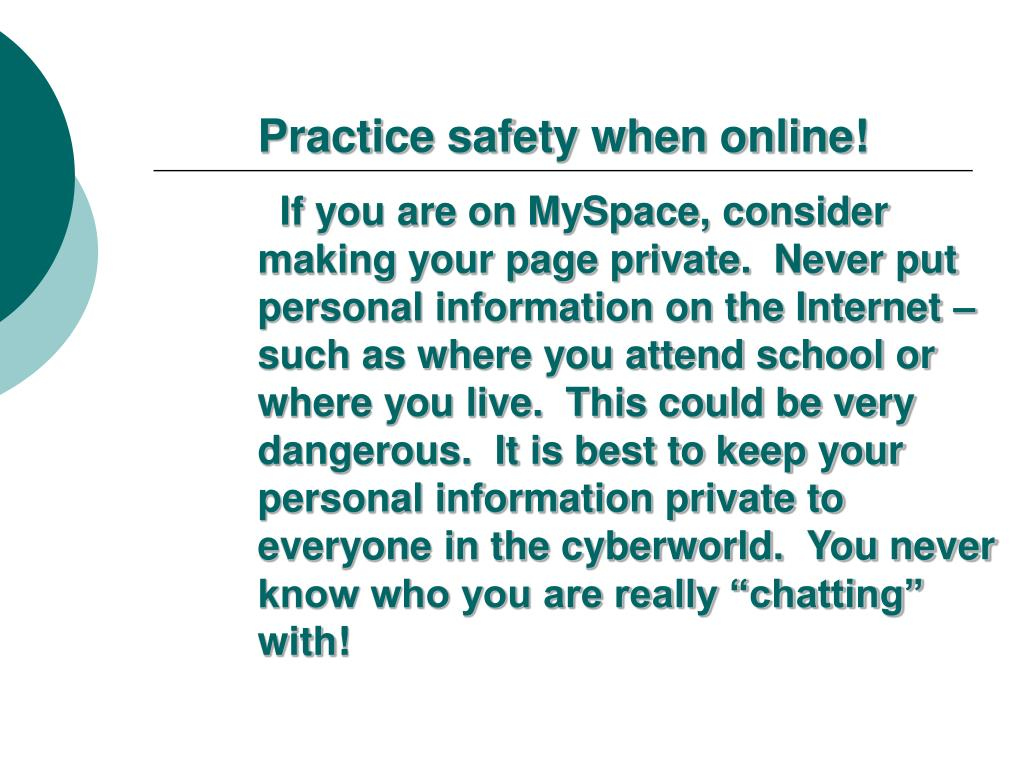Practice safety when online!