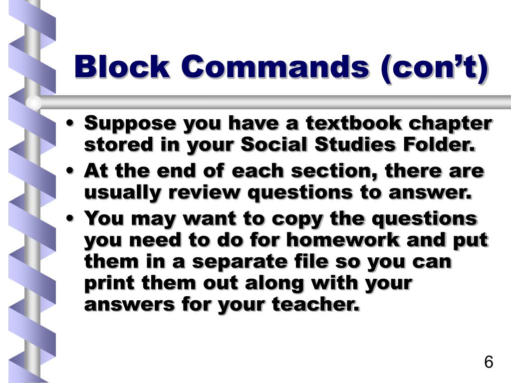 Block Commands (con't)
