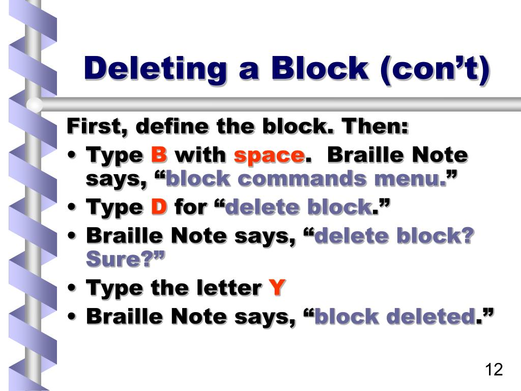 Deleting a Block (con't)