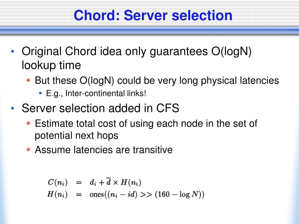 Chord: Server selection