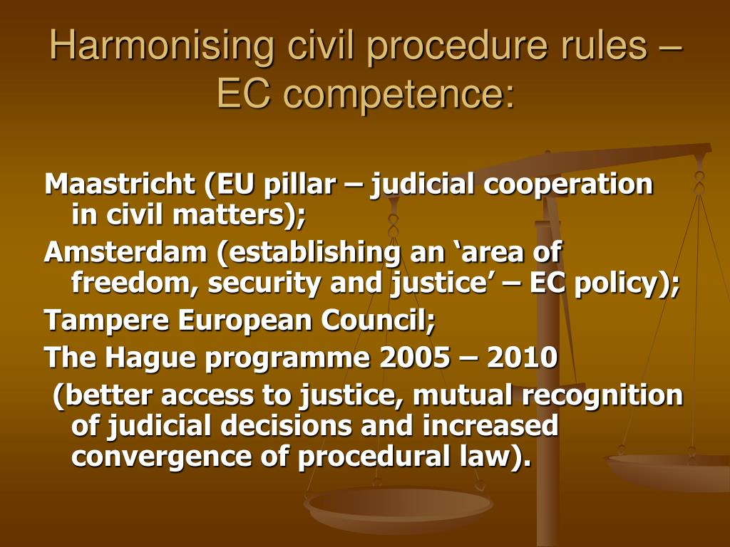 Harmonising civil procedure rules – EC competence: