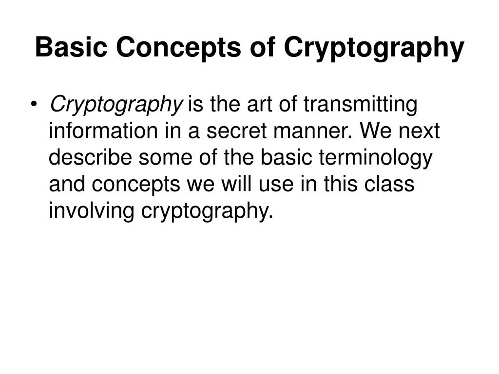 Basic Concepts of Cryptography