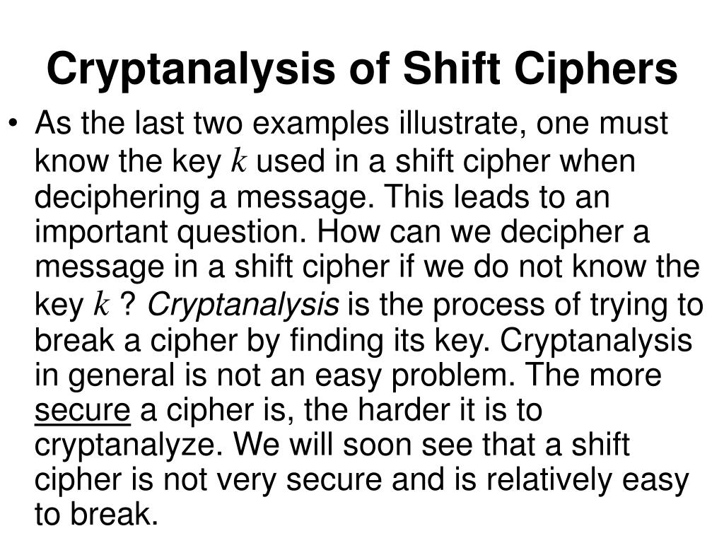 Cryptanalysis of Shift Ciphers