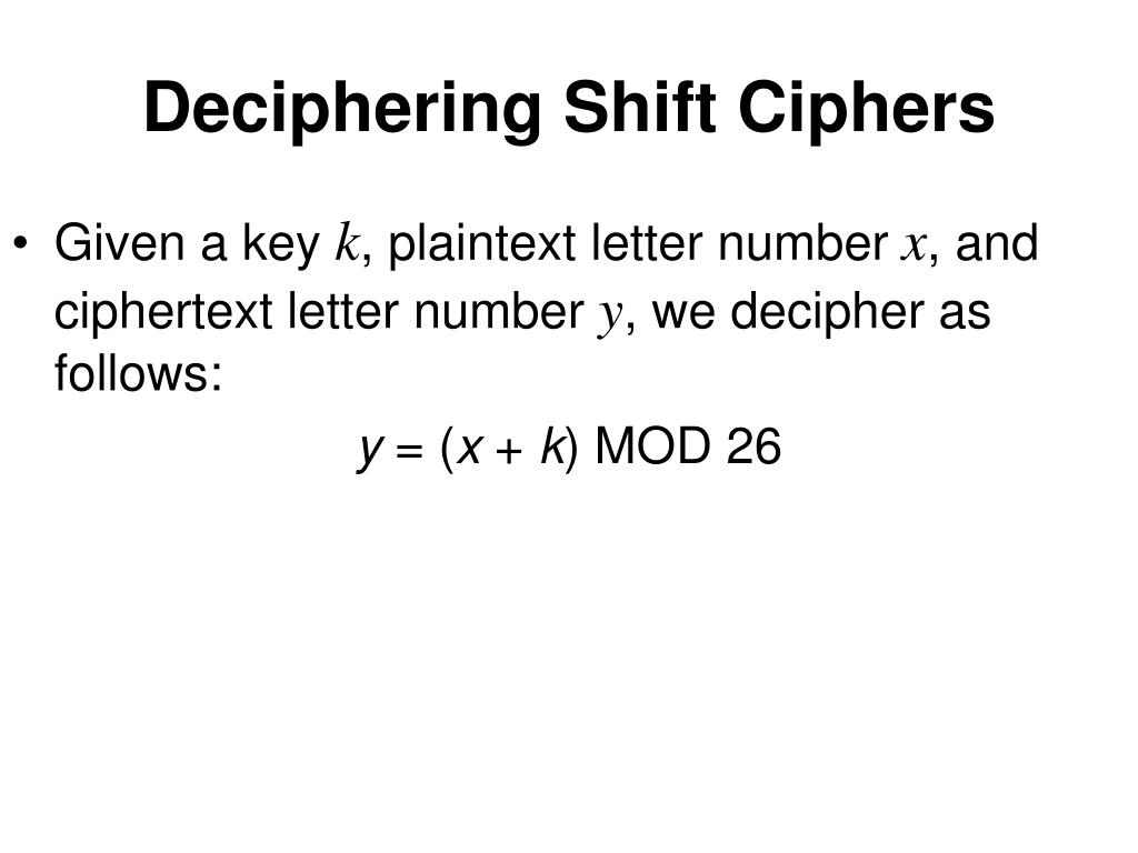Deciphering Shift Ciphers