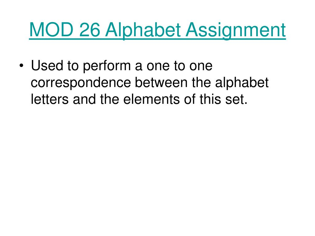 MOD 26 Alphabet Assignment