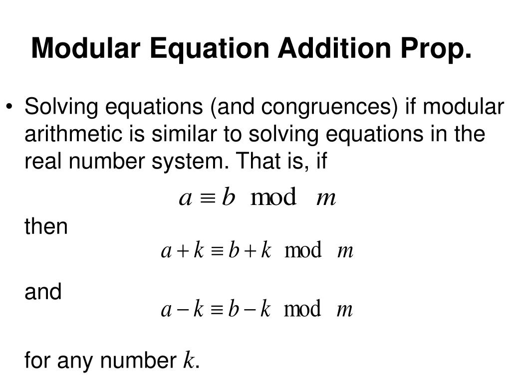 Modular Equation Addition Prop.