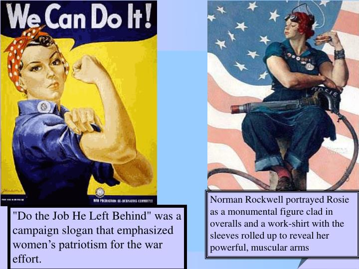 Norman Rockwell portrayed Rosie as a monumental figure clad in overalls and a work-shirt with the sl...