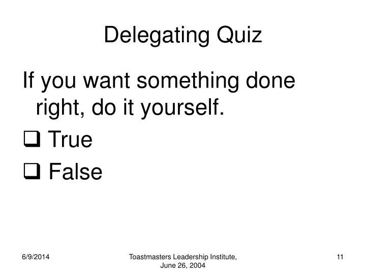 Delegating Quiz