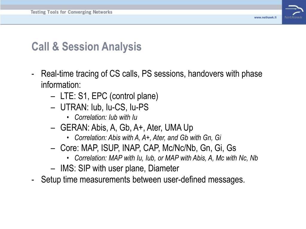 Call & Session Analysis