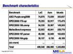 benchmark characteristics
