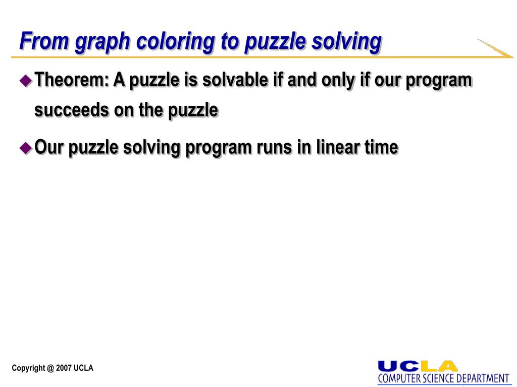 From graph coloring to puzzle solving