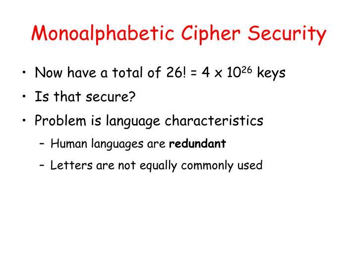 Monoalphabetic Cipher Security