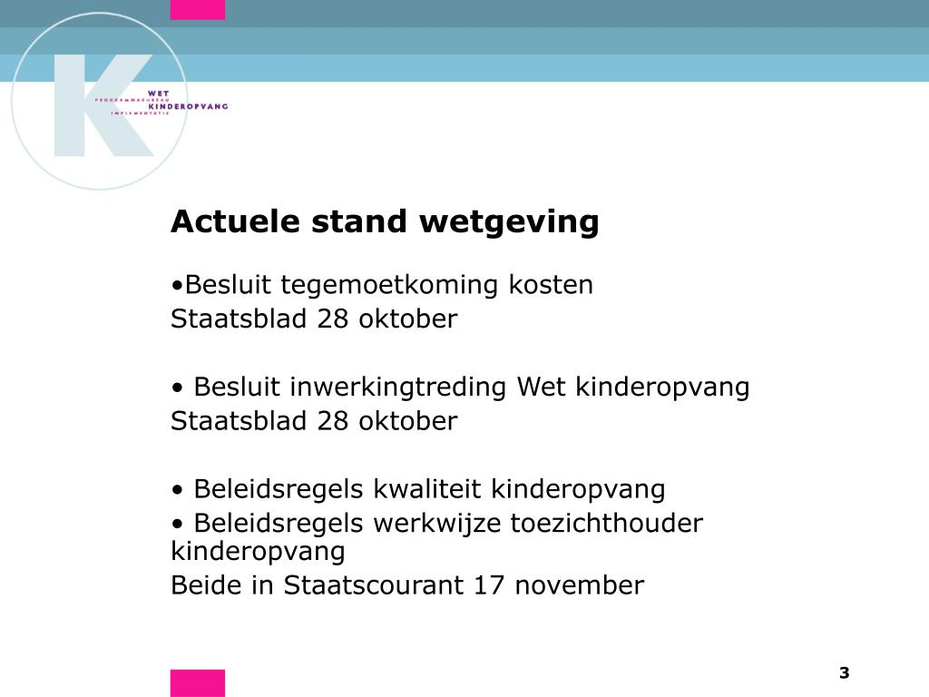 Actuele stand wetgeving