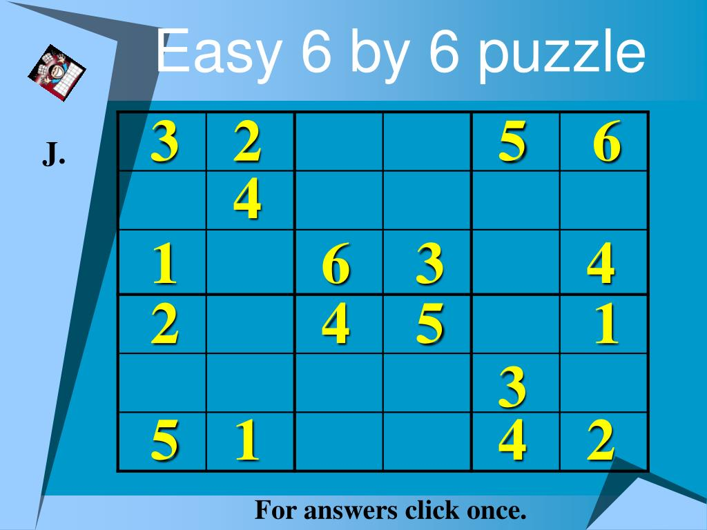 Easy 6 by 6 puzzle