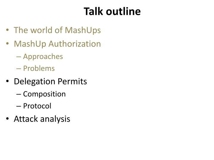 Talk outline