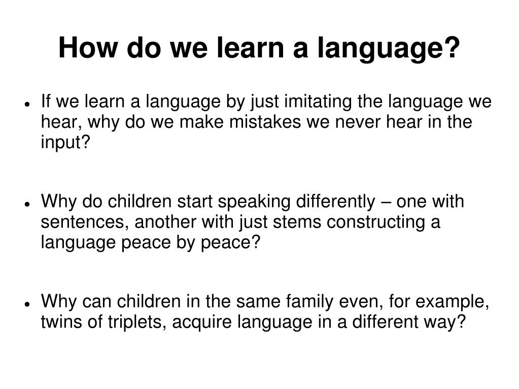 How do we learn a language?