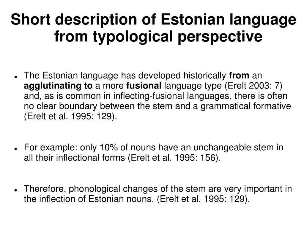 Short description of Estonian language from typological perspective