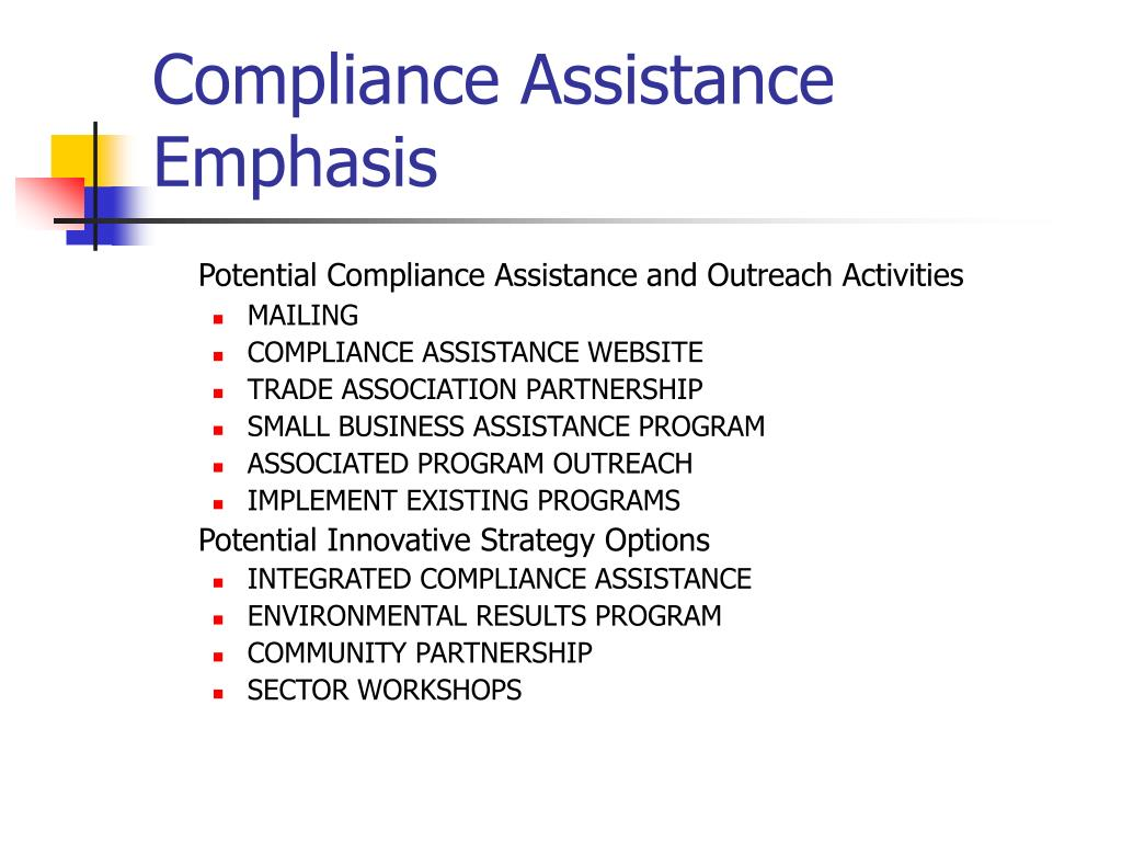 Compliance Assistance Emphasis