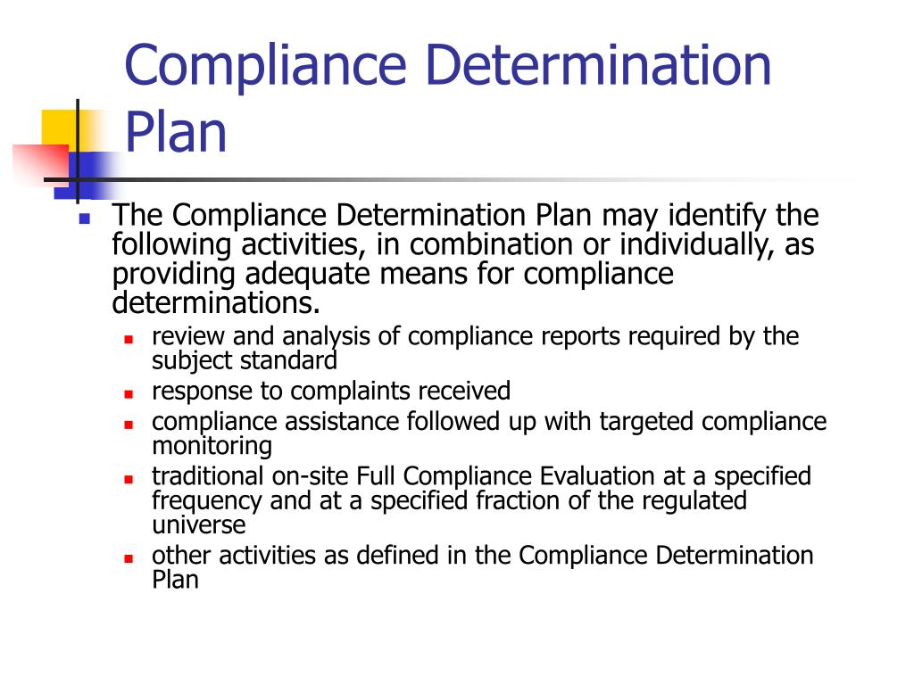 Compliance Determination Plan