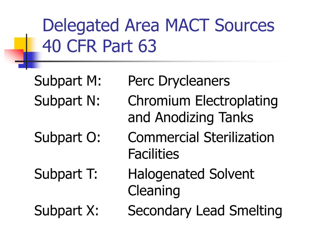 Delegated Area MACT Sources