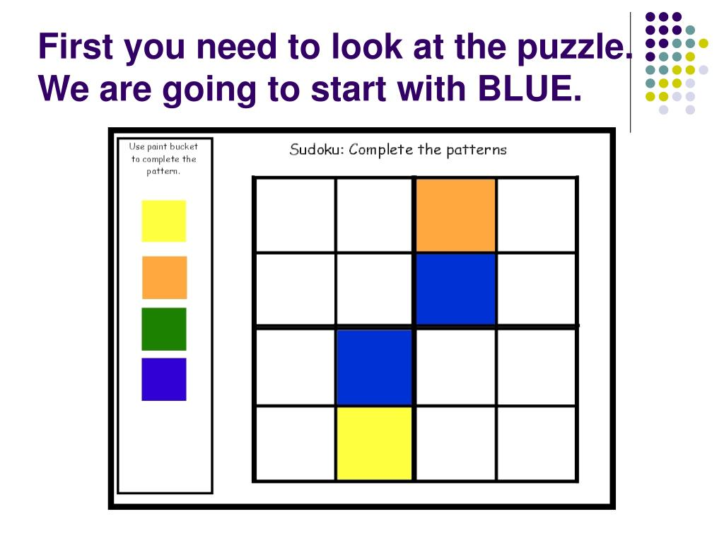 First you need to look at the puzzle. We are going to start with BLUE.