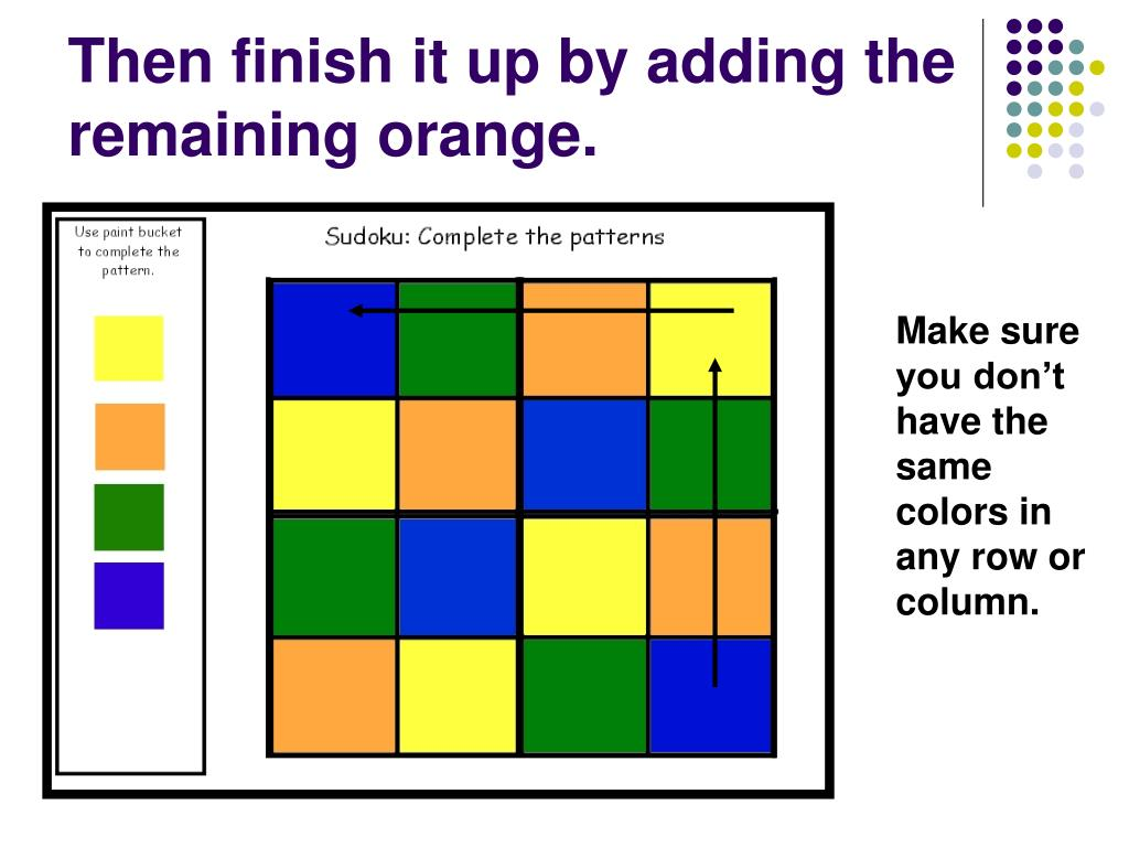 Then finish it up by adding the remaining orange.